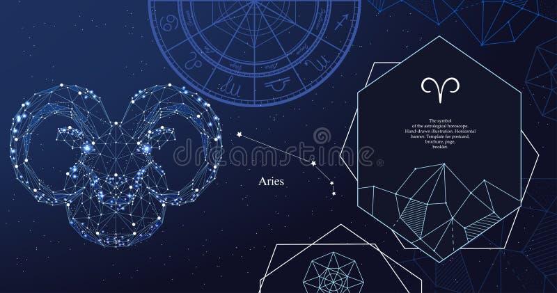 baran ilustracji znak zodiak wektora Symbol astrologiczny horoskop Horyzontalny sztandar ilustracja wektor