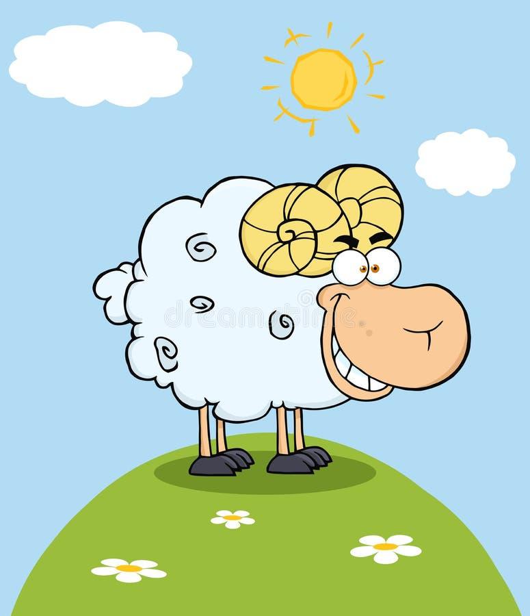 Baran kreskówki maskotki charakter Na wzgórzu ilustracja wektor