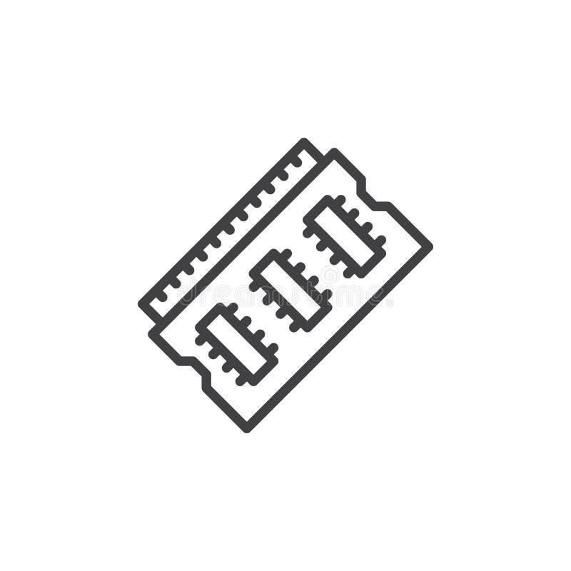 Baran pamięci linii ikona ilustracji