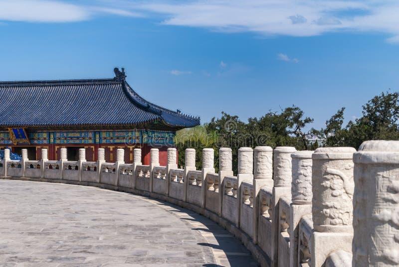 Barandilla circular y tejado azul en el Templo del Cielo, Pekín imagen de archivo
