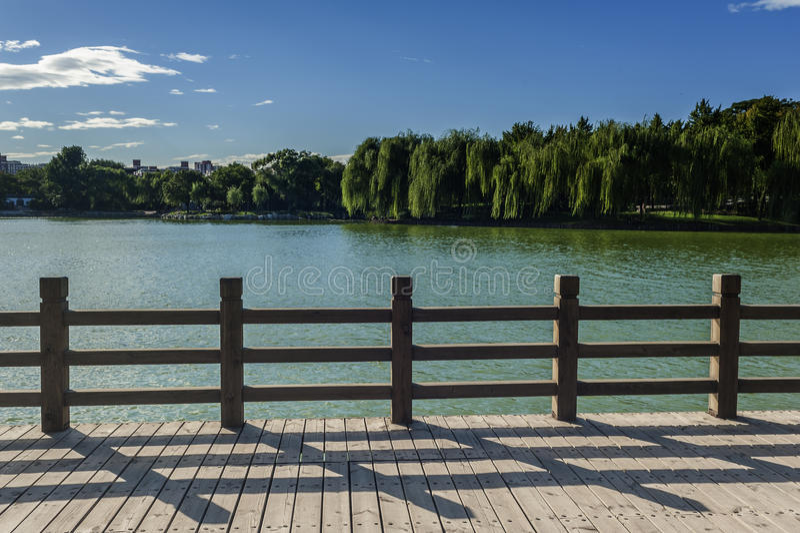 Barandilla de madera en la orilla del lago en un parque fotografía de archivo libre de regalías