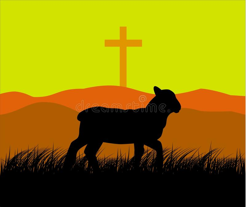 Baranek i krzyż ilustracji