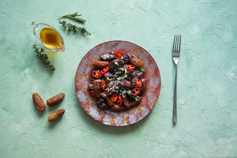 Baranek z figami w słodkim kumberlandzie kuchnia azjatykcia zdjęcia royalty free