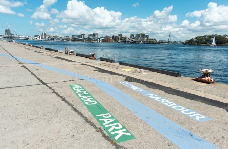 Barangaroo walkway signs royalty free stock photos