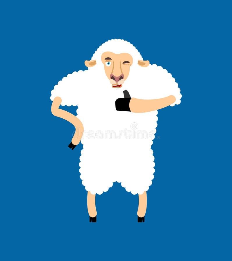 Barani aprobat i mrugnięć emoji Ewe szczęśliwy emoji 7 zwierzęcia kreskówki gospodarstwa rolnego ilustraci serii V ilustracja wektor