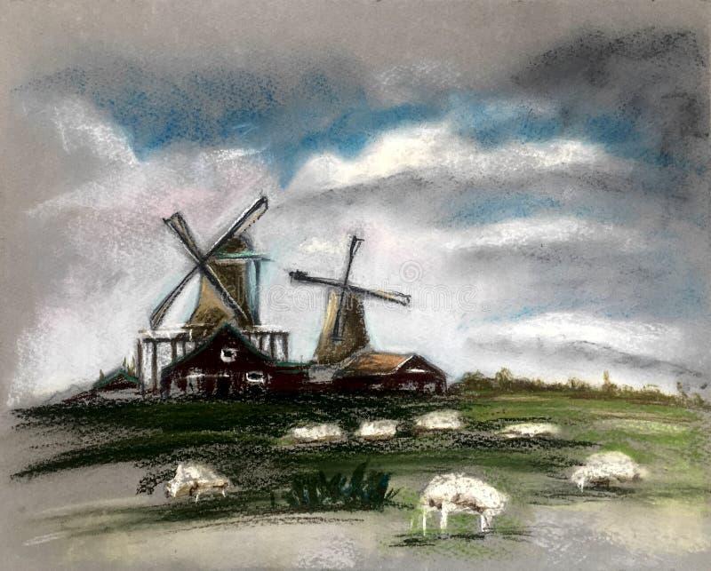 Barani pasanie blisko młynu chmury piękny niebo Nieociosany holendera krajobraz Holandii wioska Mleka lub cakli gospodarstwo roln ilustracji