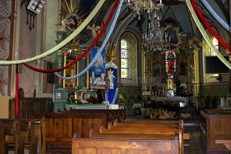 Baranow Sandomierski, двери и интерьер старой церков стоковая фотография rf