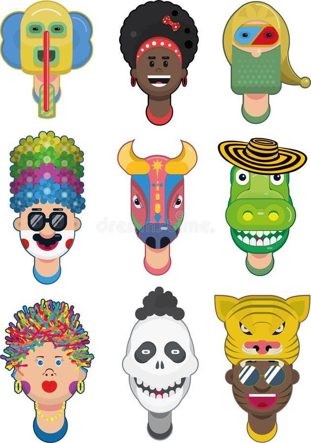 Baranquilla-Karnevalscharakter-Vektorillustration stockfotos