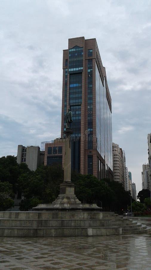 Barao de Maua statue and business buildings in Rio Branco avenue view from Maua square Rio de Janeiro Downtown Brazil. Barao de Maua statue and business royalty free stock image