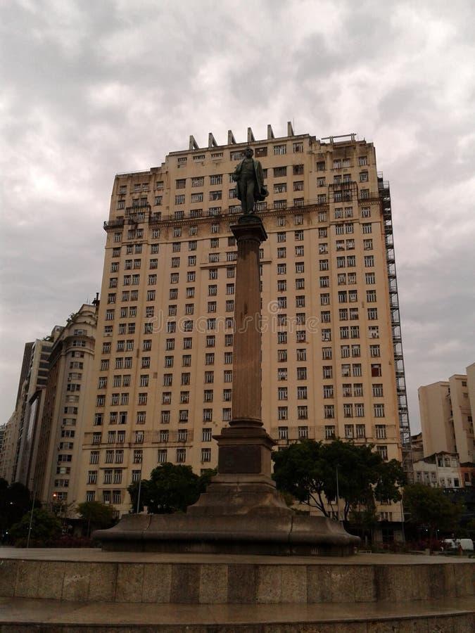 Barao de Mauá statue in Maua square Rio de Janeiro Downtown Brazil. Barao de Maua statue in Maua square Rio de Janeiro Downtown. Statue, square, rainy day royalty free stock images