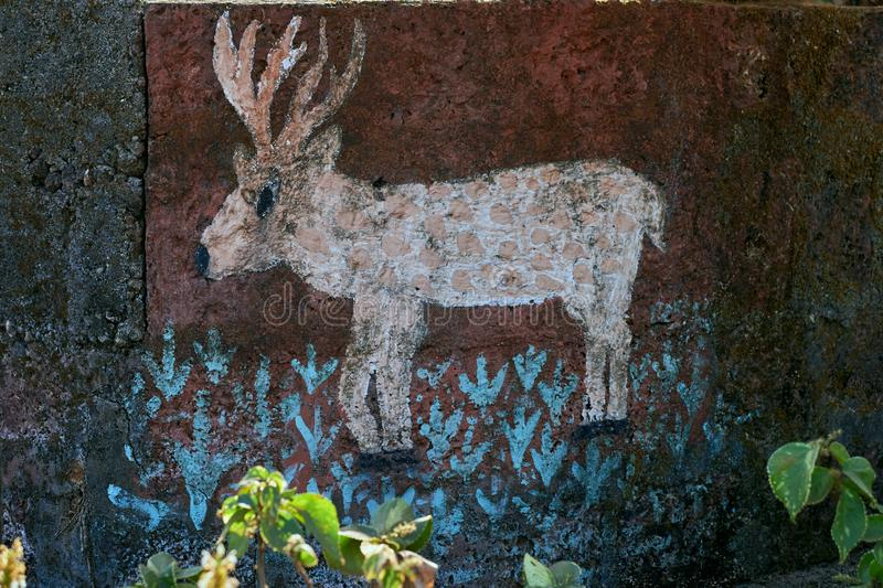Barasingha painted on wall of Park gardan Dapoli Konkan Maharashtra stock images