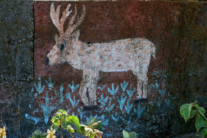 Barasingha a peint sur le mur du maharashtra gardan de Dapoli Konkan de parc images stock