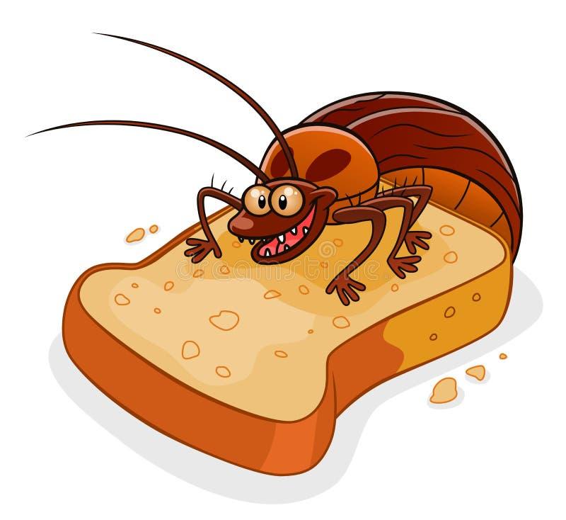 Barata no pão ilustração do vetor