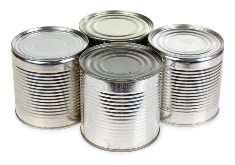Barattoli del metallo di alimento fotografia stock