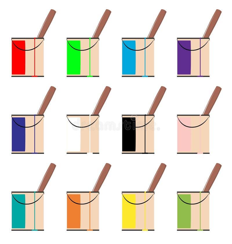 Barattoli di pittura su un fondo bianco illustrazione vettoriale