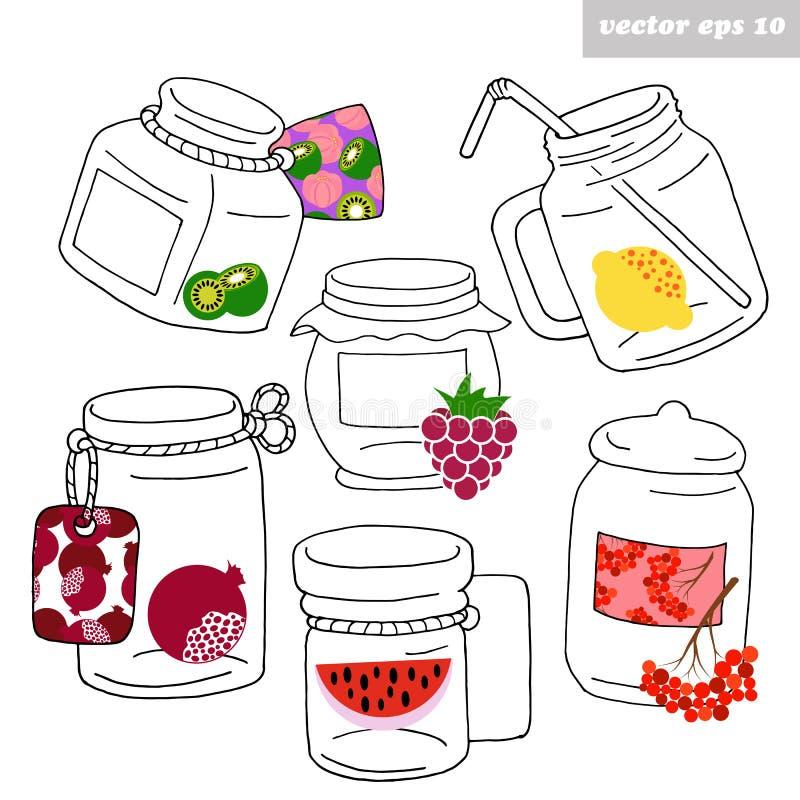 Barattoli disegnati a mano con i frutti illustrazione di stock