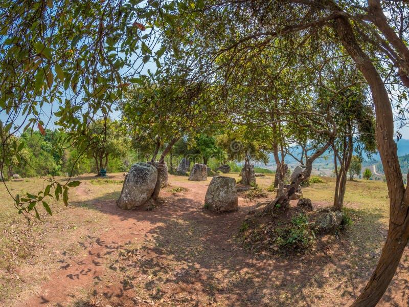 Barattoli giganti della pietra di età del ferro sulla collina boscosa Plateau di Xiangkhoang, L immagini stock libere da diritti