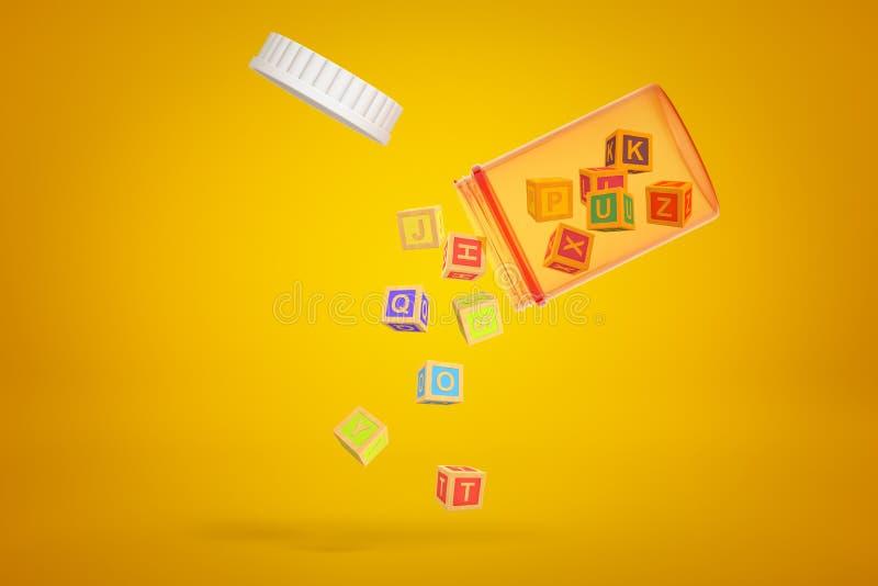 Barattolo arancio trasparente della pillola inclinato in aria con il coperchio fuori ed i piccoli blocchetti di ABC che cadono fu fotografia stock