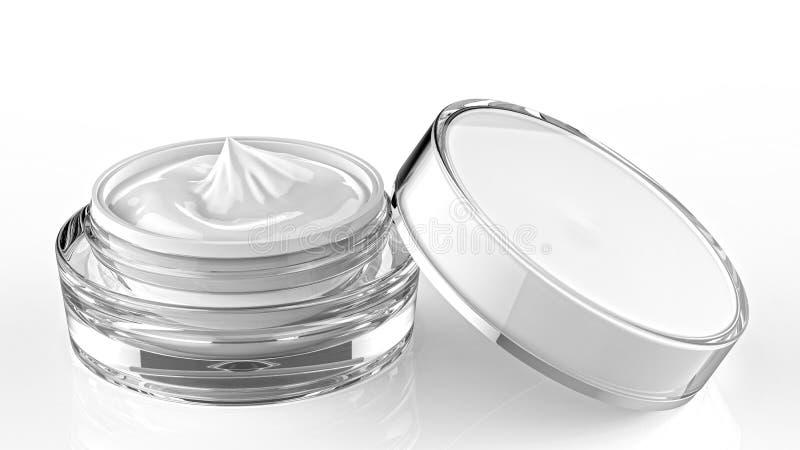 Barattolo cosmetico, contenitore acrilico di cura di pelle con crema La copertura è stata aperta 3d illustrano illustrazione di stock
