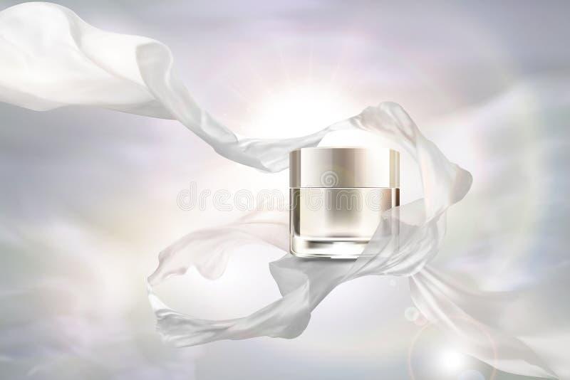 Barattolo crema del bianco perla con chiffon royalty illustrazione gratis