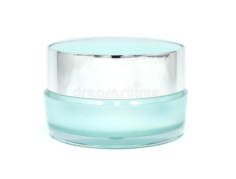 Barattolo crema facciale blu Concetto di bellezza fotografia stock