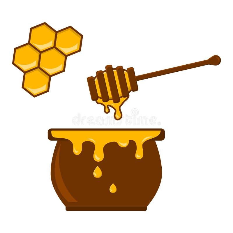 Barattolo, cucchiaio e favo del miele Vettore illustrazione vettoriale