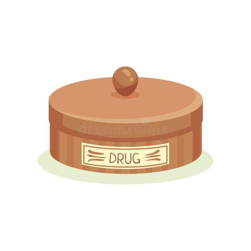 Barattolo del metallo di Brown con le droghe Contenitore per le pillole di stoccaggio Tema della medicina e di sanità Disegno del illustrazione di stock