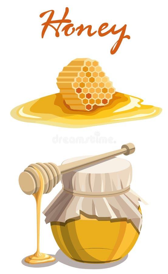 Barattolo del miele, bastone di legno del merlo acquaiolo e favo illustrazione di stock