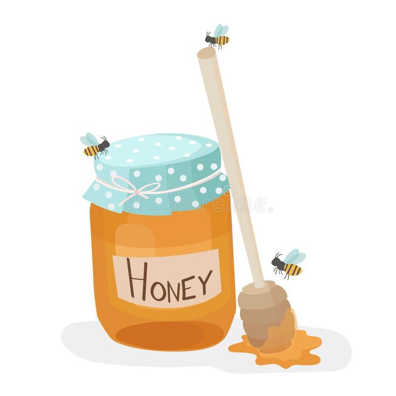 Barattolo del miele con il merlo acquaiolo di legno del miele royalty illustrazione gratis