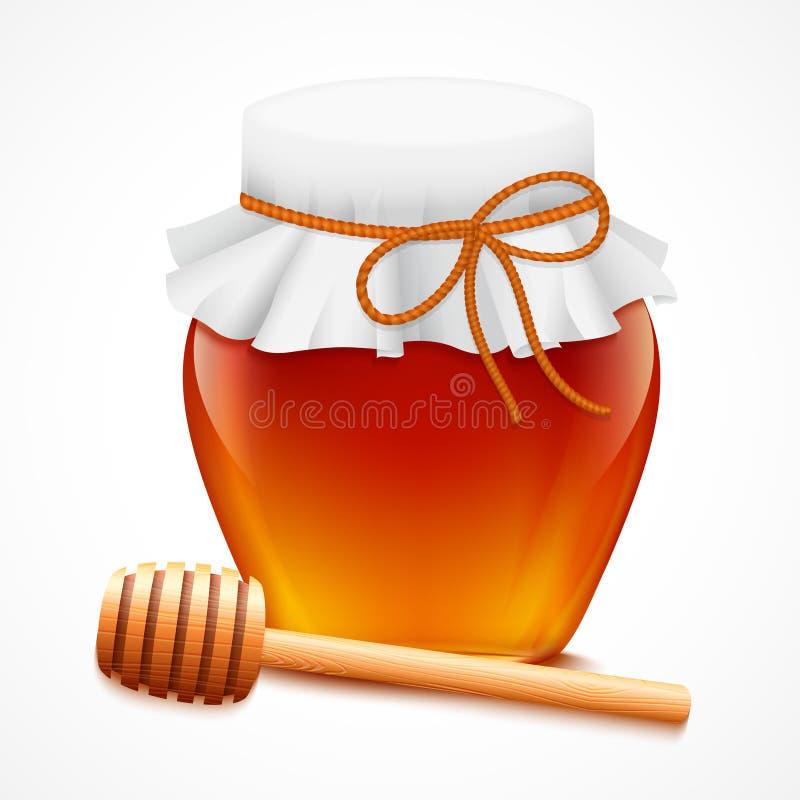 Barattolo del miele con l'emblema del merlo acquaiolo royalty illustrazione gratis