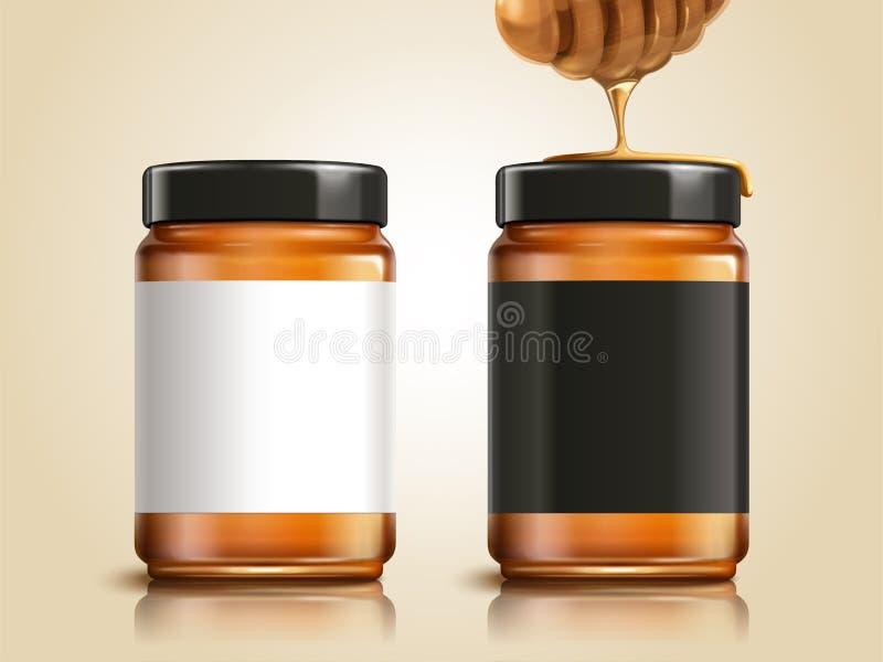 Barattolo del miele con le etichette in bianco royalty illustrazione gratis