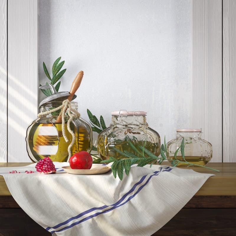 Barattolo del miele con le mele e la festa dell'ebreo di Rosh Hashana del melograno fotografia stock libera da diritti