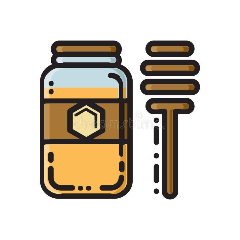Barattolo del miele e merlo acquaiolo, linea sottile icona piana di stile illustrazione vettoriale