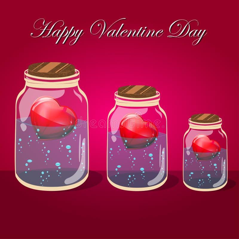 Barattolo della bottiglia di amore con i cuori rosa dentro Cartolina illustrazione di stock