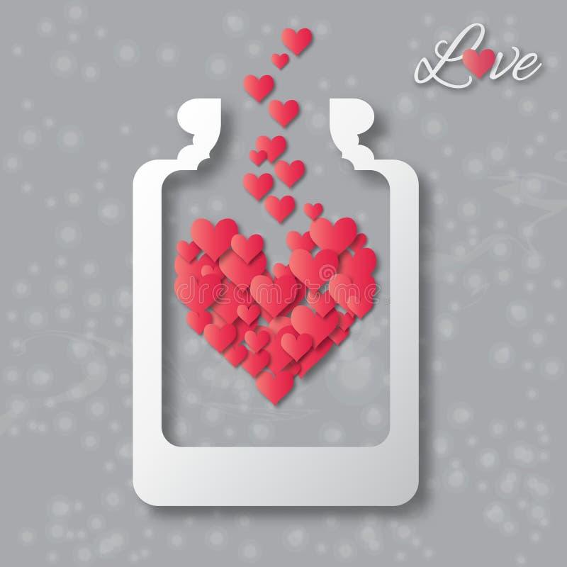 Barattolo della bottiglia di amore con i cuori rossi dentro illustrazione vettoriale