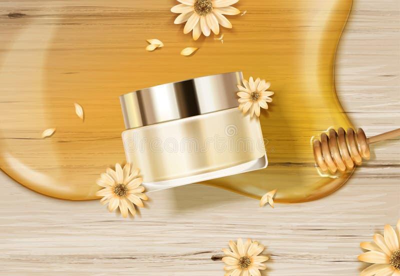 Barattolo della crema dello skincare del miele royalty illustrazione gratis