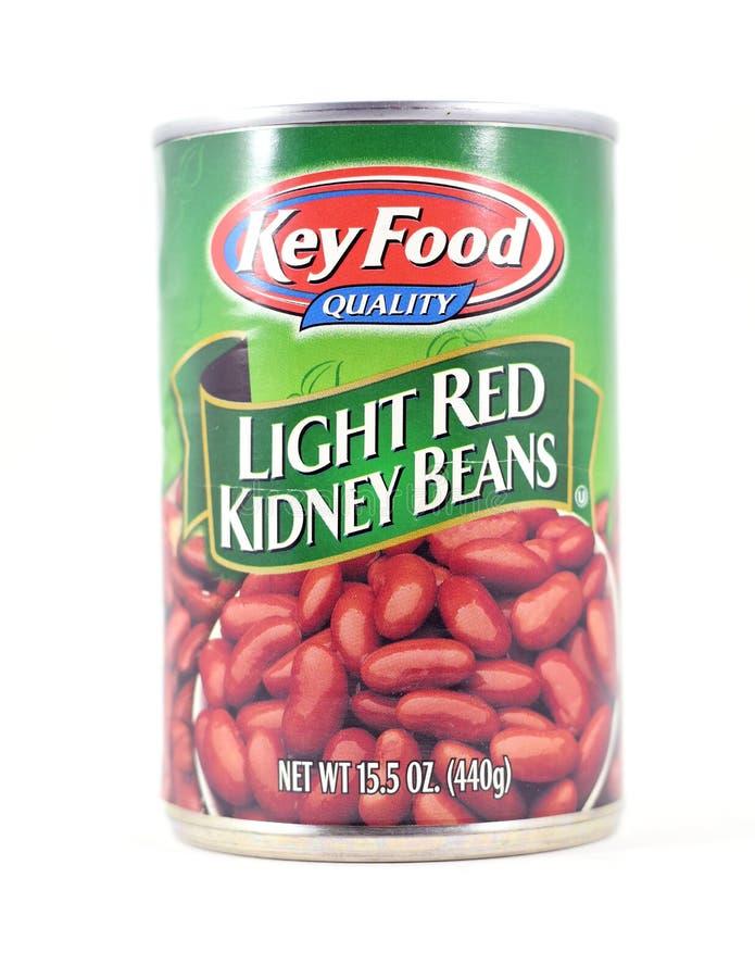 Barattolo di latta dei fagioli rosso-chiaro chiave di qualità dei prodotti alimentari fotografia stock