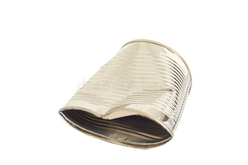 Barattolo di latta sgualcito del metallo immagine stock