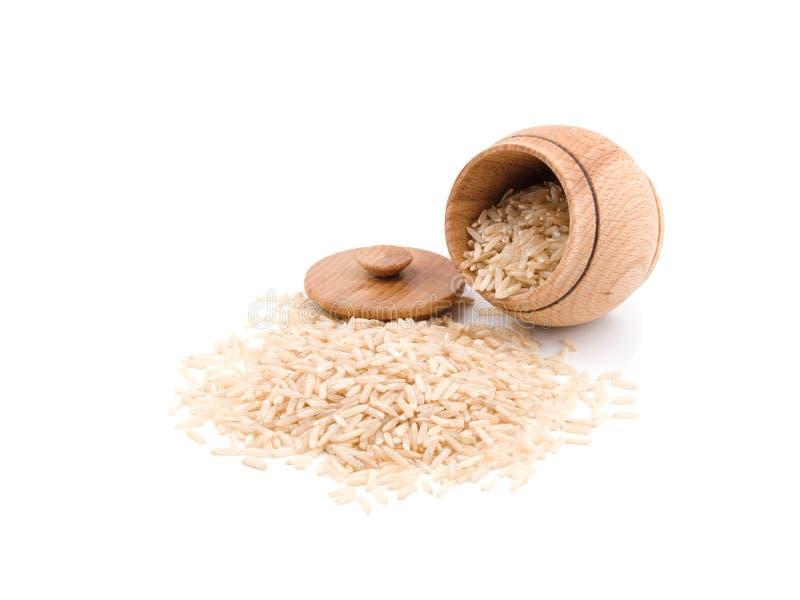 Barattolo di legno per riso fotografia stock