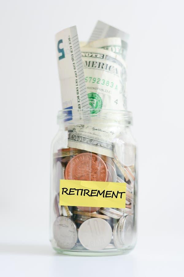 Barattolo di risparmio di pensionamento immagine stock