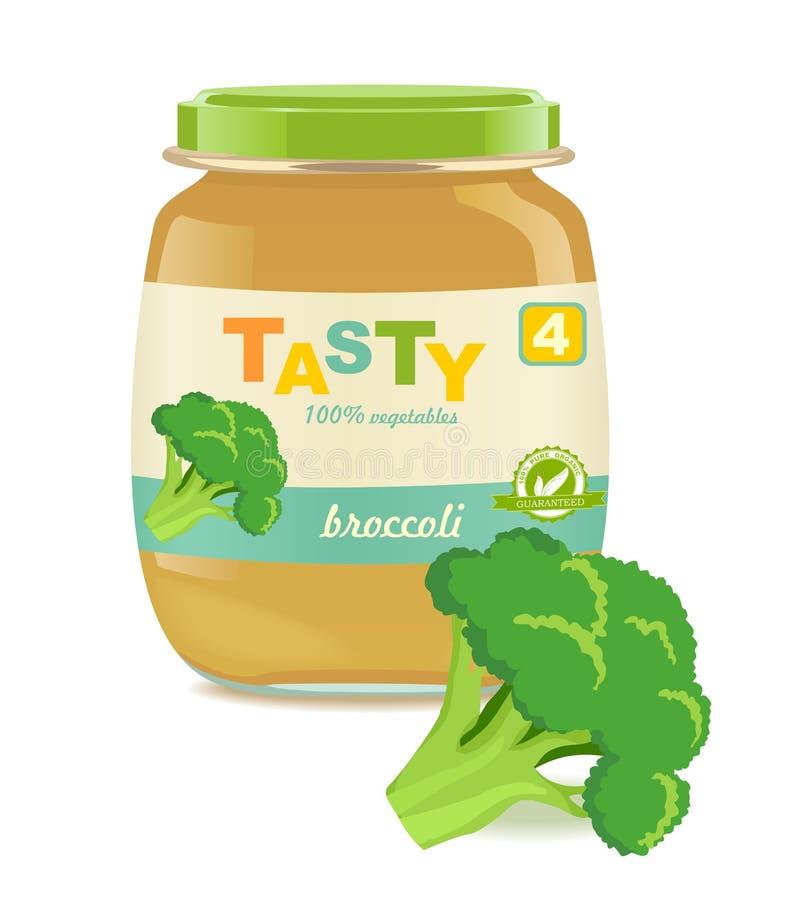 Barattolo di vetro con gli alimenti per bambini dei broccoli illustrazione vettoriale
