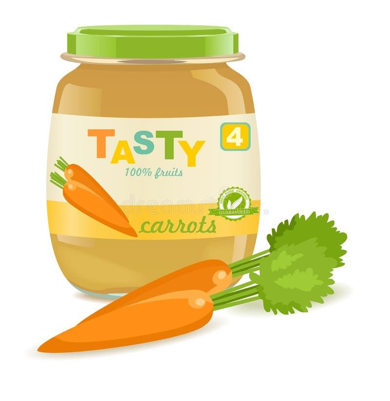 Barattolo di vetro con gli alimenti per bambini della carota royalty illustrazione gratis
