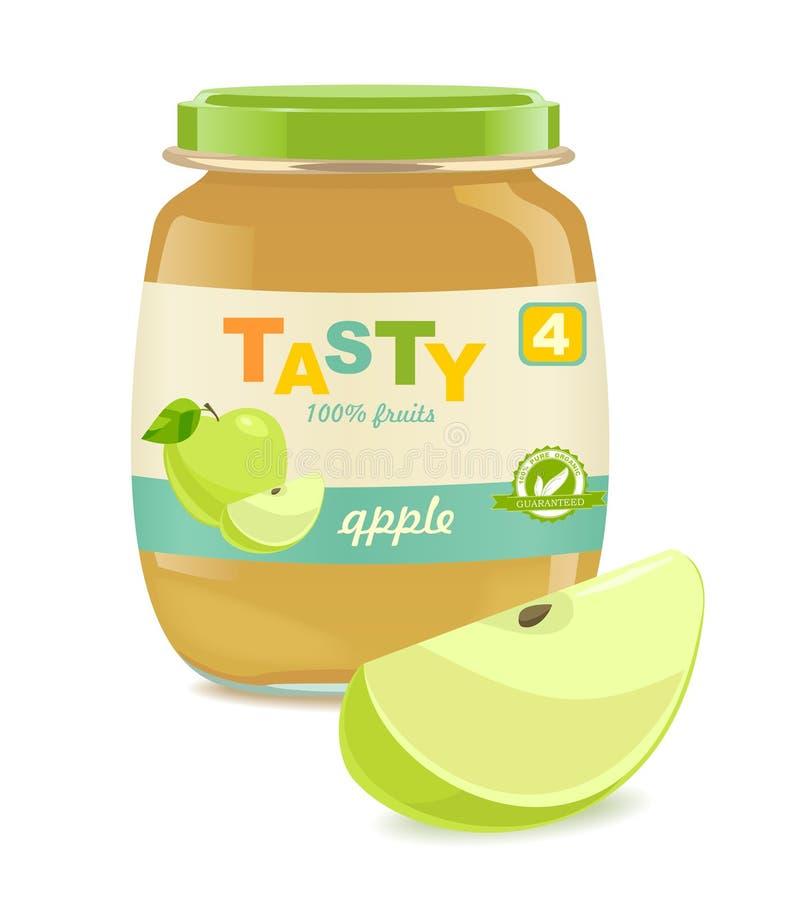 Barattolo di vetro con gli alimenti per bambini della mela illustrazione vettoriale