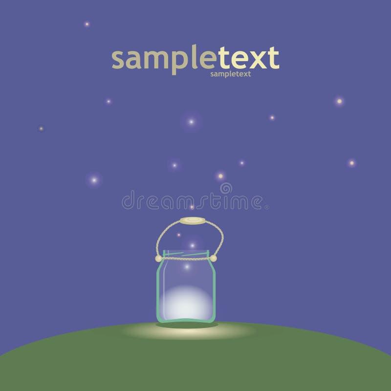 Barattolo di vetro con una maniglia della corda con luce e le lucciole su una radura della radura alla notte nel vettore scuro de illustrazione vettoriale