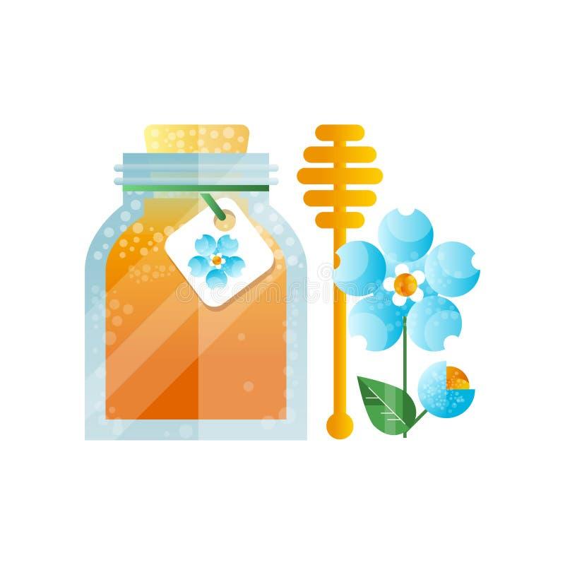 Barattolo di vetro di miele e del fiore blu, illustrazione di erbe naturale di vettore del prodotto biologico su un fondo bianco illustrazione di stock