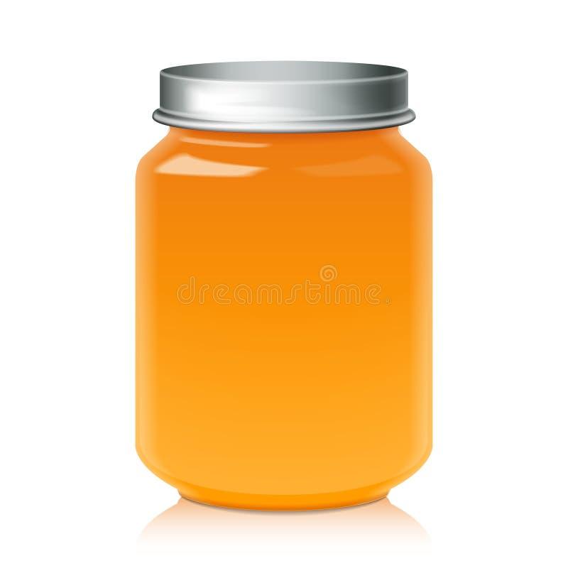 Barattolo di vetro per derisione del purè del miele, dell'inceppamento, della gelatina o degli alimenti per bambini sul modello illustrazione vettoriale