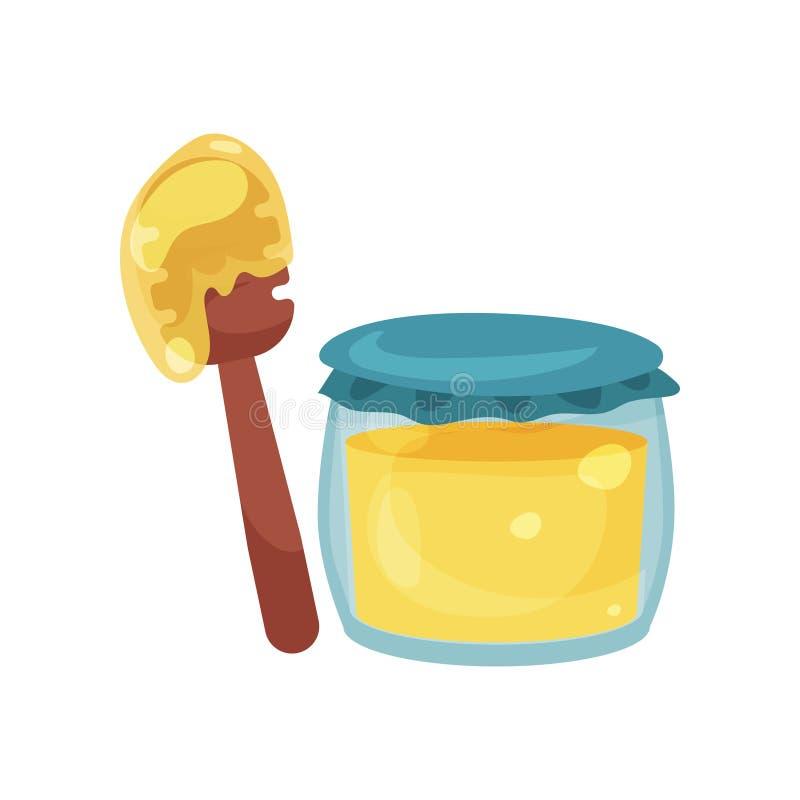Barattolo di vetro in pieno di miele e dell'illustrazione di legno di vettore del merlo acquaiolo illustrazione vettoriale