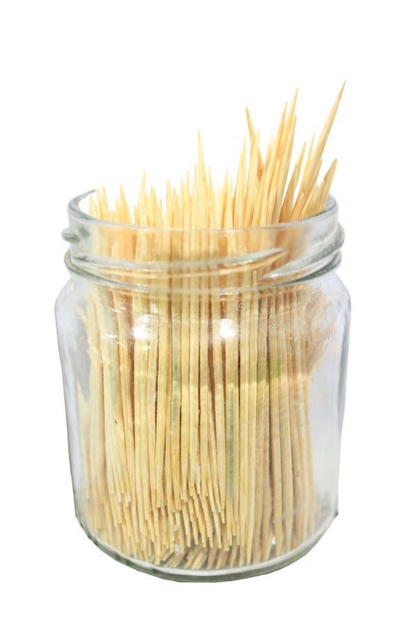 Barattolo di vetro trasparente con gli stuzzicadenti di bambù fotografie stock libere da diritti