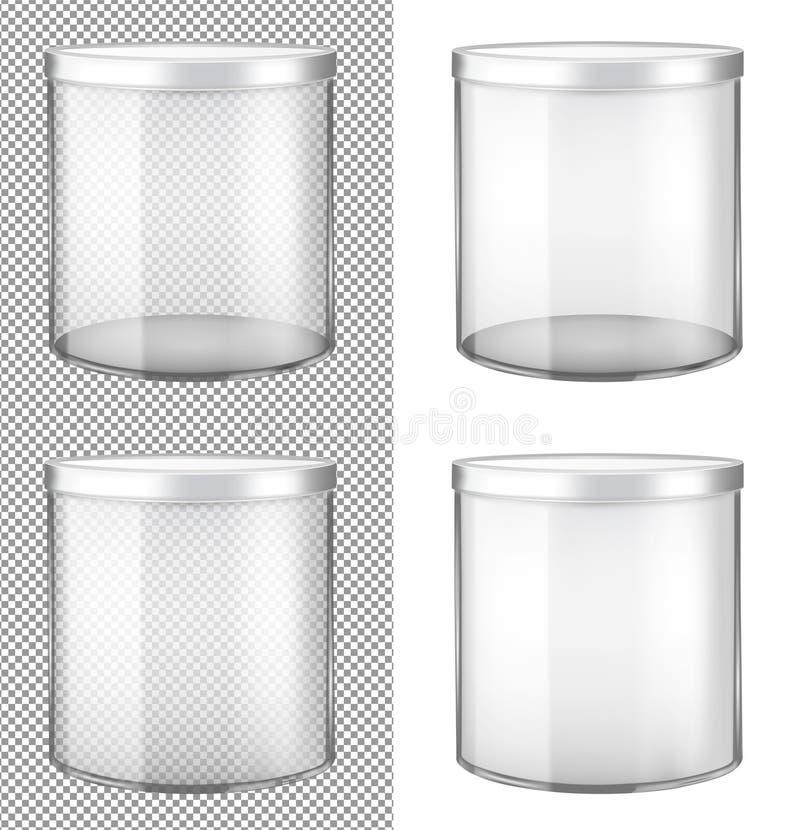 Barattolo di vetro trasparente con il coperchio del metallo illustrazione vettoriale