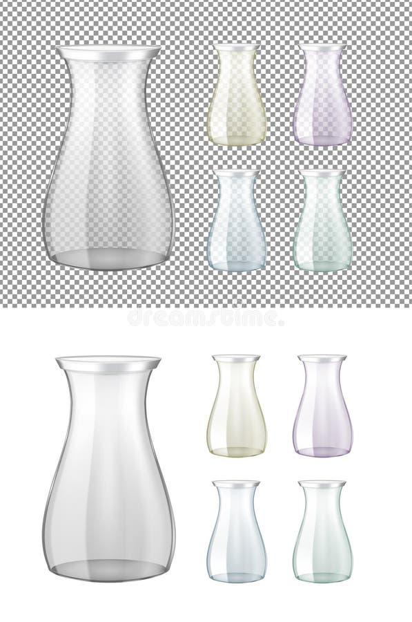 Barattolo di vetro trasparente con il coperchio del metallo Bottiglia di vino illustrazione di stock